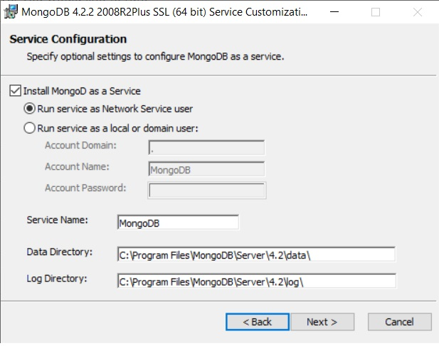 Prompt to choose if the MongoDB server should be run by a network service user or by a specific user on the Windows machine or domain,