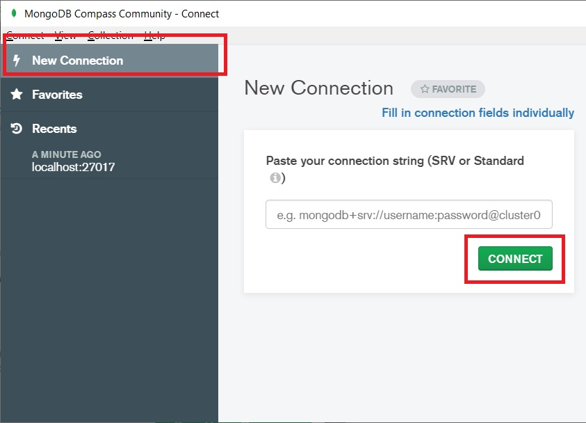 Connecting first time to MongoDB community server. Simply click the connect button.