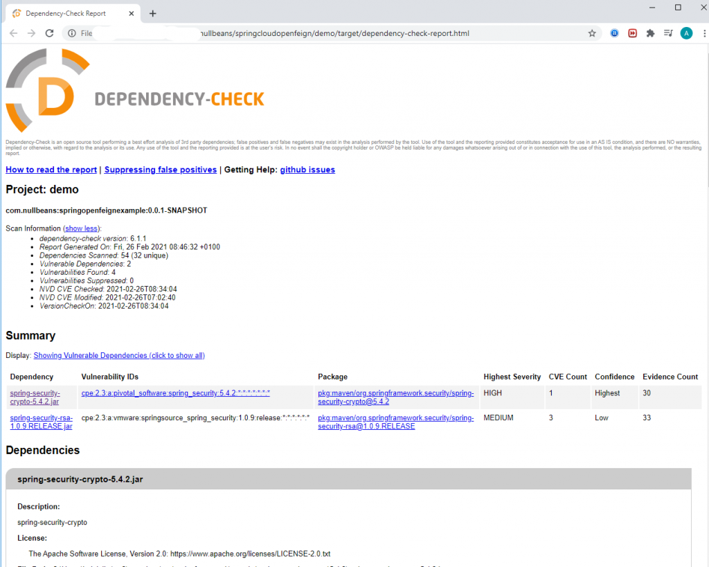 An example of a dependency-check report