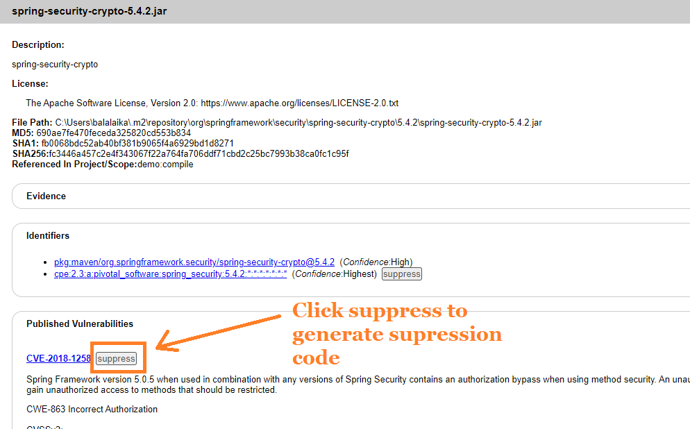 The suppress button can be used to generate XML code that can be used to omit the vulnerability in future scans