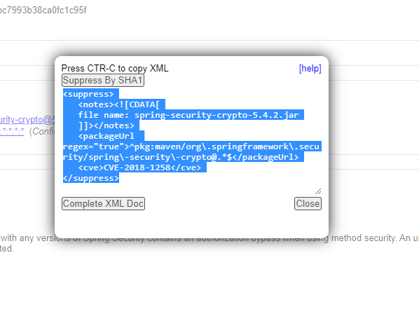 The suppression code can be added to an existing suppressions XML file to mute the vulnerability in future scans