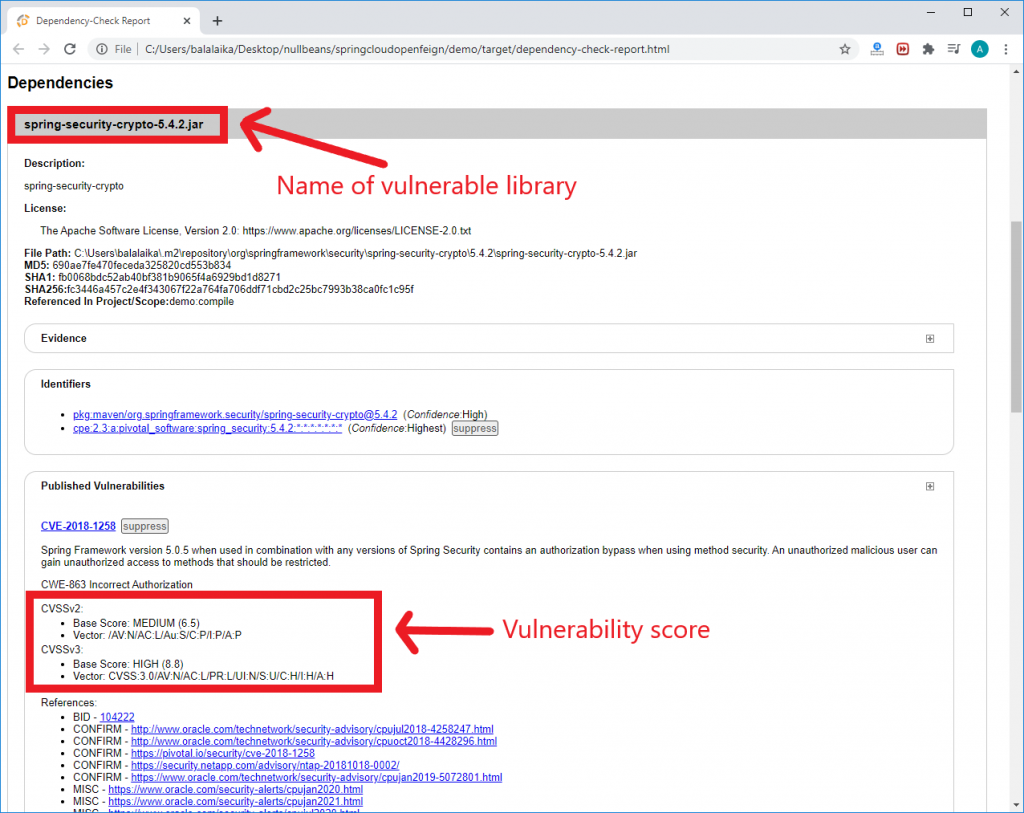 An example of a vulnerable library