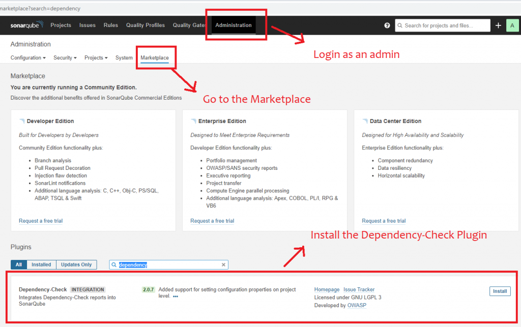 How to enable the Dependency-Check plugin in SonarQube