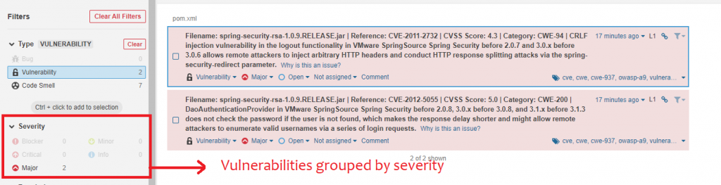 In the details page, you can see the number of vulnerabilities, grouped by severity