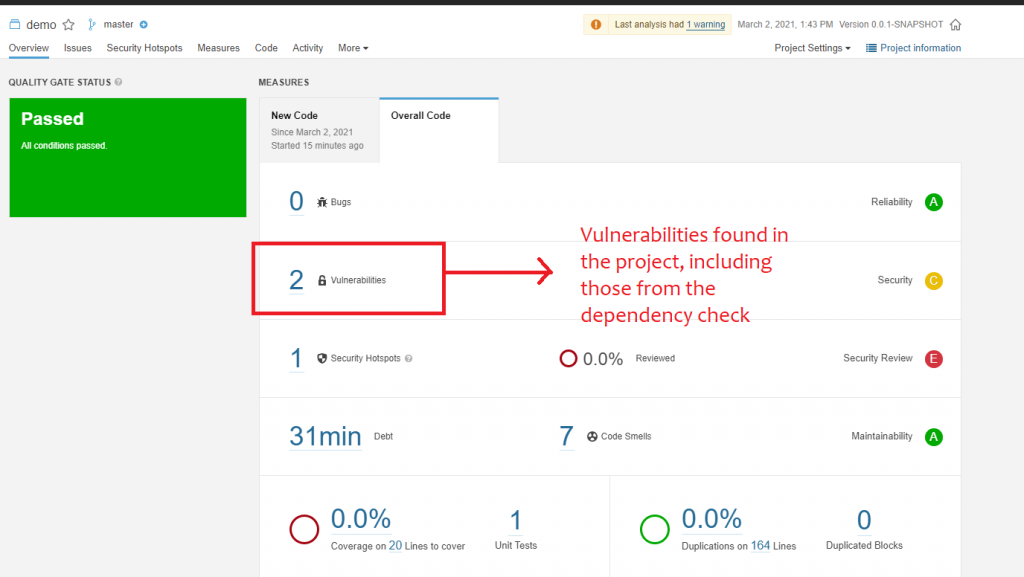 The screenshot shows an example project with two vulnerabilities
